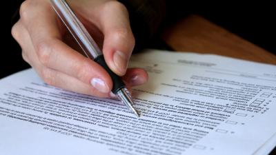 pen with contract